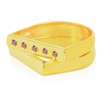 Msj By Mira S Designs Two Yellow Gold Flat Rings With Amethyst Gold Pink Purple