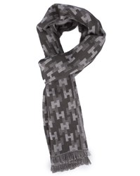 Hackett Grey Logo All Over Scarf