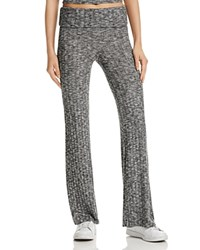 Michelle By Comune Marled Ribbed Foldover Pants Black White