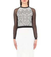 Roland Mouret Fitted Crepe And Lace Top Black White