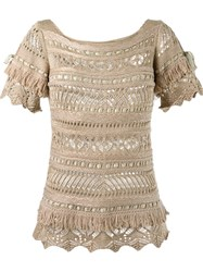 Cecilia Prado Open Knit Tricot Blouse Nude And Neutrals