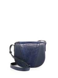 Vince Modern V Small Lizard Embossed Leather And Smooth Leather Crossbody Bag