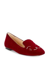Karl Lagerfeld Embroidered Animal Face Loafers Burgundy