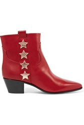Saint Laurent Star Appliqued Leather Ankle Boots Red