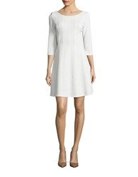 Taylor Textured Three Quarter Sleeve Fit And Flare Dress Ivory