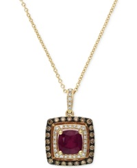 Effy Collection Red Velvet By Effy Ruby 1 3 8 Ct. T.W. And Brown Diamond 1 3 Ct. T.W. Square Pendant In 14K Rose Gold