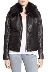 Trouve Leather Jacket With Removable Faux Fur Collar Black