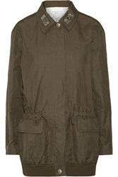 Sonia Rykiel Crystal Embellished Linen And Cotton Blend Twill Jacket Green