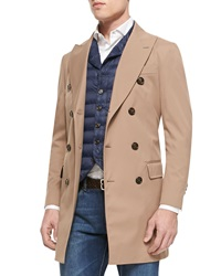 Brunello Cucinelli Nylon Double Breasted Trench Coat Camel