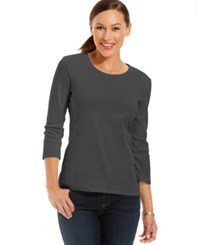 Charter Club Petite Three Quarter Sleeve Crew Neck Top