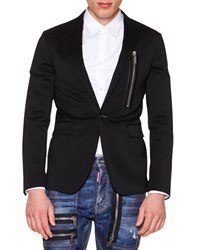 Dsquared One Button Wool Blazer With Zip Detail Black Men's