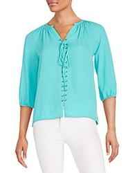 Collective Concepts Lace Up Blouse Teal