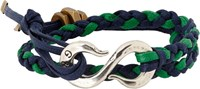 Giles And Brother Braided Leather Bracelet With Hook Clasp Blue