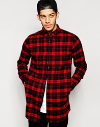 Izzue Longline Flannel Check La Shirt Red