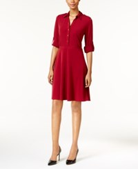 Ny Collection Petite Roll Tab Shirtdress Wild Cranberry