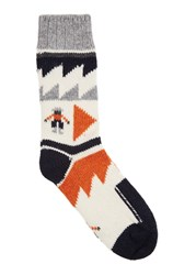 Folk Ecru Intarsia Wool Blend Socks