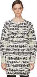 Alexander Mcqueen Black And White Distressed Motif Sweater Dress