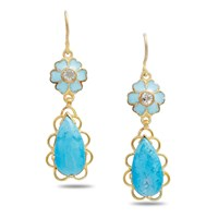 Emma Chapman Jewels Sibilla Blue Enamel Flower Drop Earrings