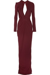Roland Mouret Compeyson Draped Jersey Crepe Gown Burgundy