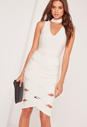 Missguided Premium Bandage Choker Cage Skirt Midi Dress White White