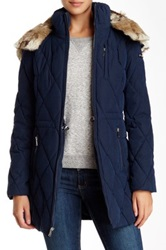 Nautica Faux Fur Hood Quilted Jacket Blue