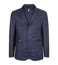 Corneliani Quilted Silk Jacket Male Navy