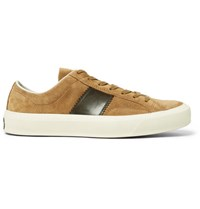 Tom Ford Cambridge Polished Leather Panelled Suede Sneakers Tan