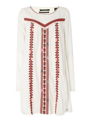 Maison Scotch Long Sleeve Embroidered Dress White