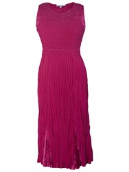 Chesca Crush Pleated Dress Cerise