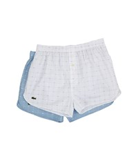 Lacoste Authentics Woven Boxer 2 Pack Croc Boxer White Powder Blue Men's Underwear