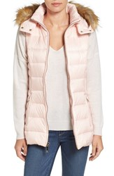 Kate Spade Women's New York Down Vest With Faux Fur Trim Pastry Pink