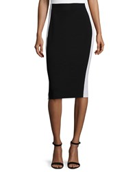 Lafayette 148 New York Colorblock Pencil Skirt Black Cloud Women's