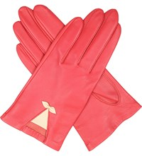 Dents Summer Bow Embellished Leather Gloves Coral Parchment