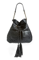Big Buddha Quilted Bucket Shoulder Bag Black