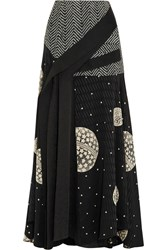 Adeam Draped Cloque Paneled Printed Silk Maxi Skirt Black