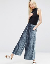 Asos Velvet Pleated Wide Leg Trousers Teal Green