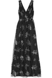 Nina Ricci Embroidered Tulle Gown Black