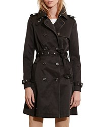Lauren Ralph Lauren Faux Leather Trim Trench Coat Black