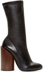 Givenchy Black Leather Wooden Heel Show Boots
