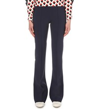Victoria Beckham Flared Wool Blend Trousers Navy