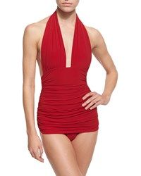 Norma Kamali Bill Ruched Halter One Piece Swimsuit Red Women's