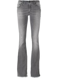 People People Frayed Hem Bootcut Jeans Grey