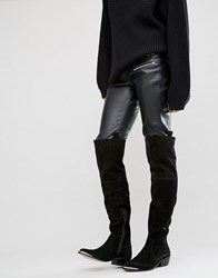 Asos Kimari Suede Western Over The Knee Boots Black Suede