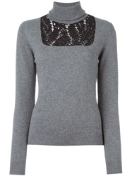 N 21 Nao21 Lace Insert Jumper Grey