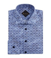 Billionaire Batik Tile Print Cotton Shirt Male Blue