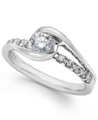 Sirena Diamond Cluster Engagement Ring In 14K White Gold 1 2 Ct. T.W.