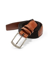 Saks Fifth Avenue Stretch Leather Belt Camel Black