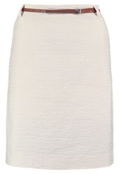 Comma Pencil Skirt Creme Beige