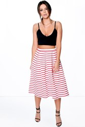 Boohoo Box Pleat Striped Skater Skirt Red