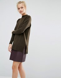 Warehouse Boxy Side Split Jumper Olive Marl Green